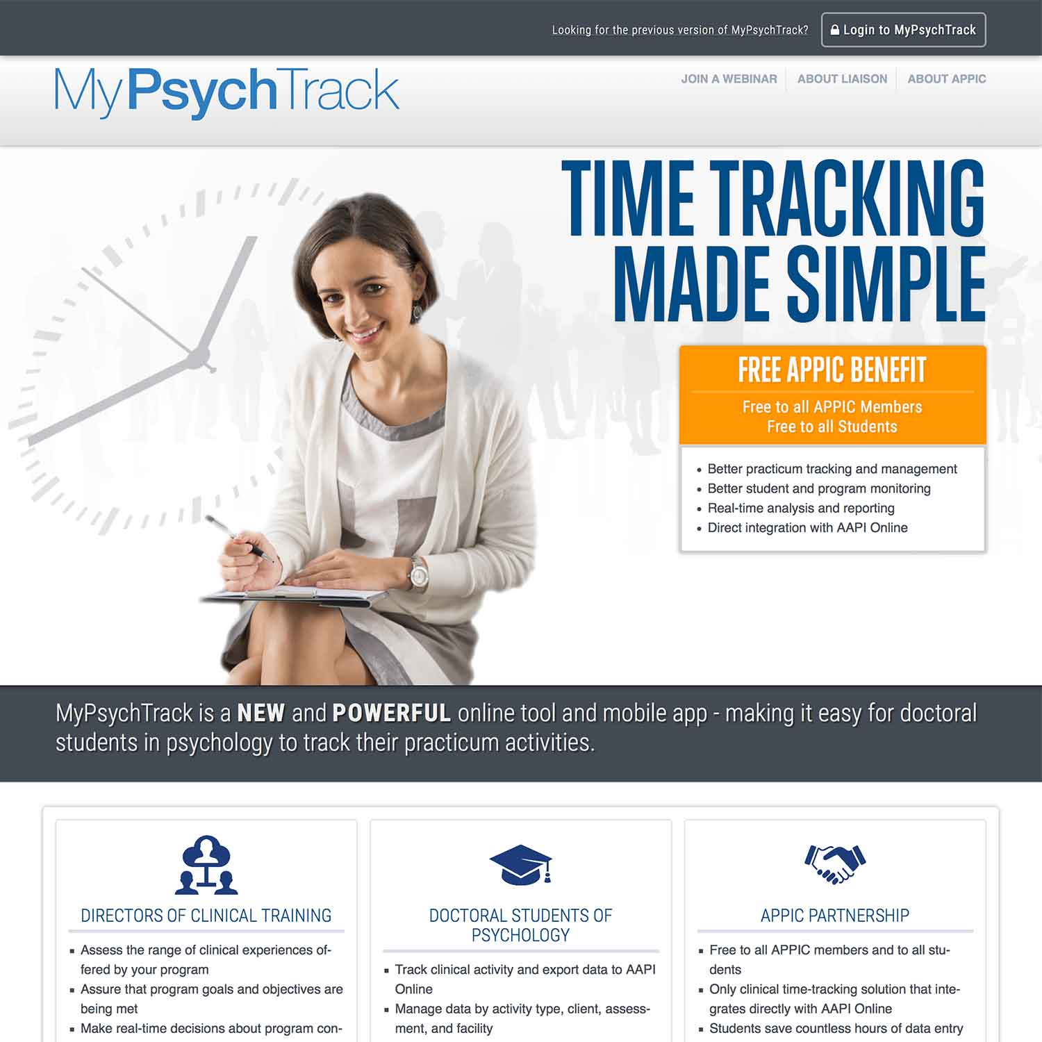 a screenshot of the MyPsychTrack marketing website
