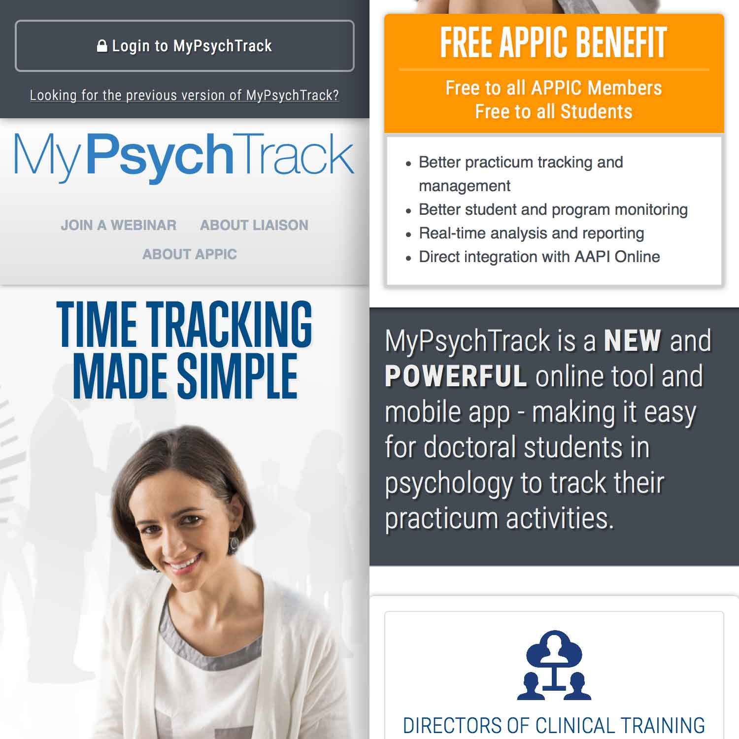 a screenshot showing two mobile layouts side-by-side of the MyPsychTrack marketing website