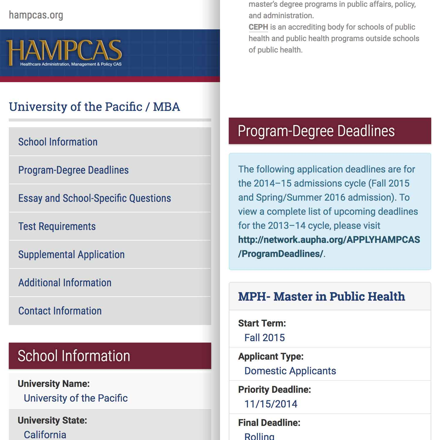 a screenshot showing two mobile layouts side-by-side of the HAMPCAS Program Page Demo