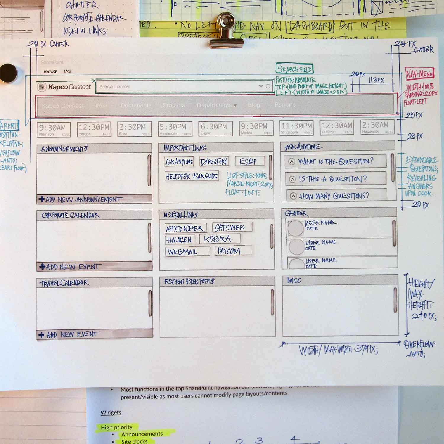 a photograph of some low-fidelity wireframes for the Kapco Global Sharepoint portal