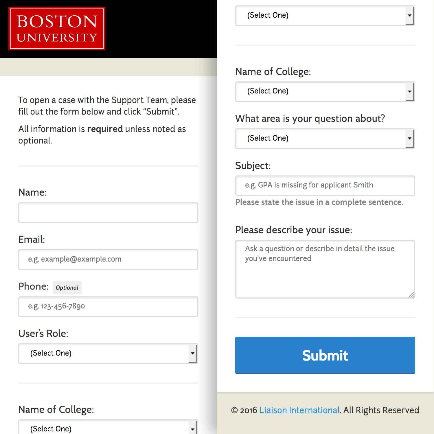 a screenshot of the Boston University Support Form for Liaison